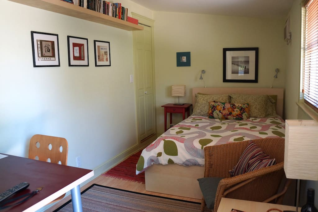 Very comfortable bed for 2, small library of books & DVDs, closet
