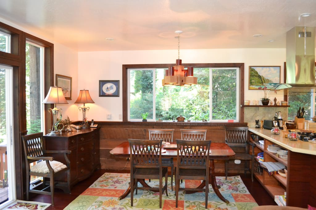 Open Plan Dining Area with View of the Redwoods