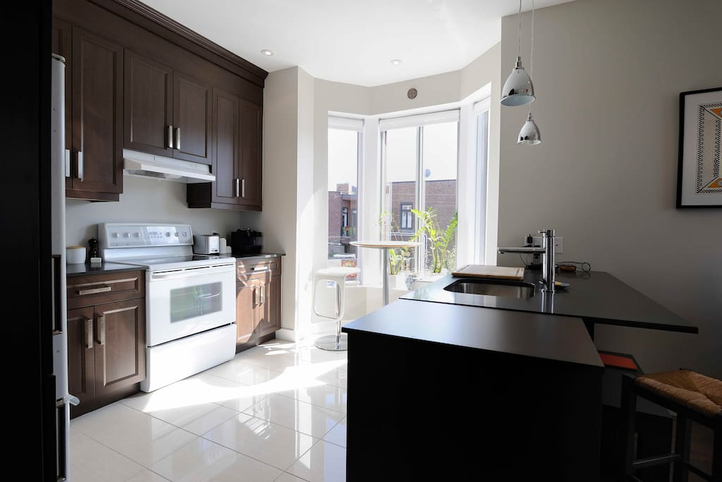 Kitchen with breakfast nook - view to Mount Royal
