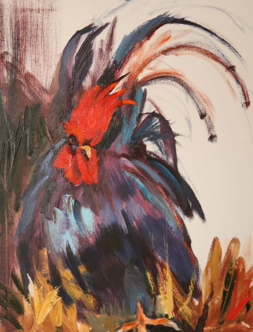 Kitchen wall painting (Rooster themed Kitchen)