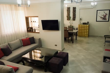 Central apartment in the heart of the city, which provides easy access to Cairo's tourist attractions. Buzzing with activity, Aguza is one of Cairo's more lively districts with many local cafés and stores located nearby.  Deutsch, Français, العربية, ok