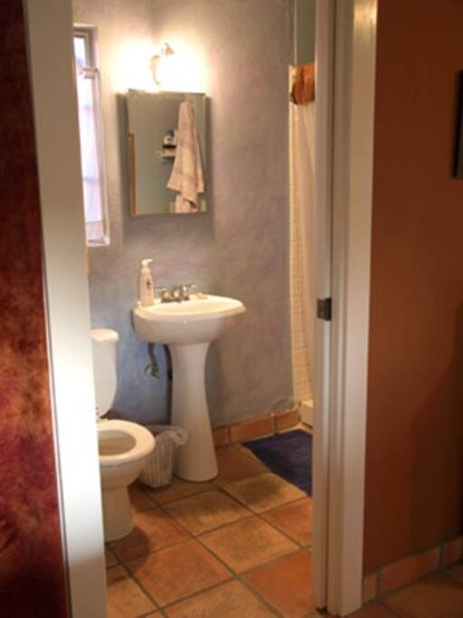 Bathroom with shower, built in shelving,saltillo tile floors throughout