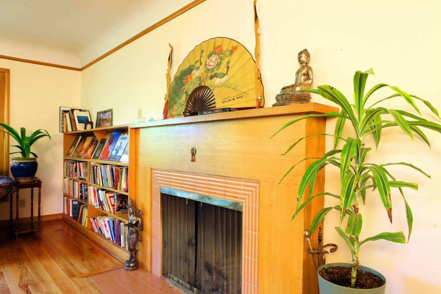 Working fireplace and great library of self help, health and fitness, psychology, and travel books.
