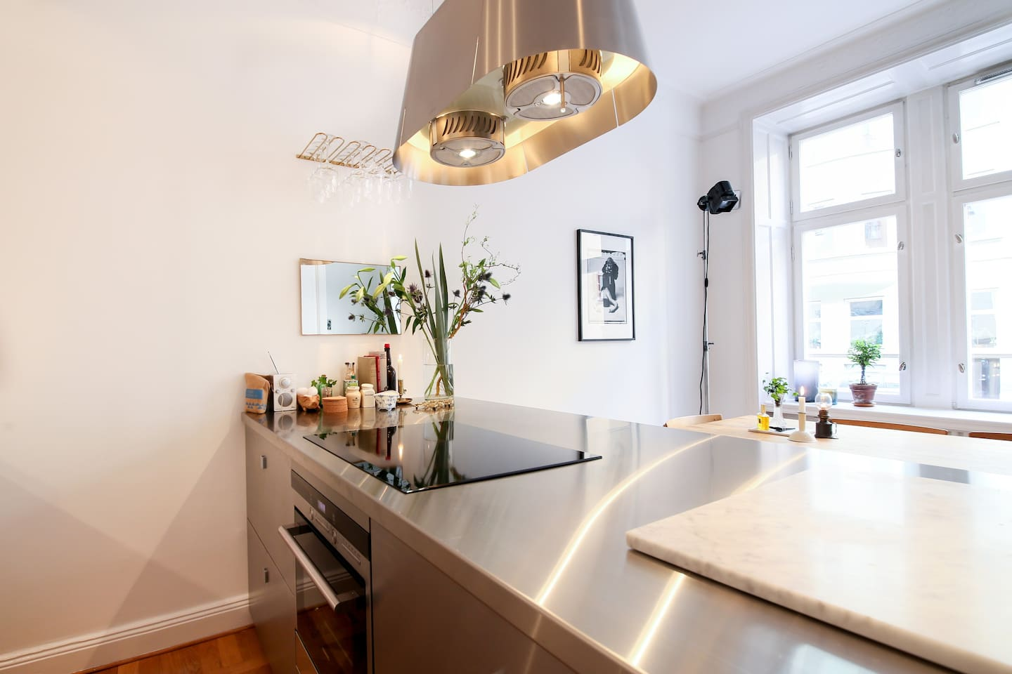 Luxury kitchen. With quiet street outside.