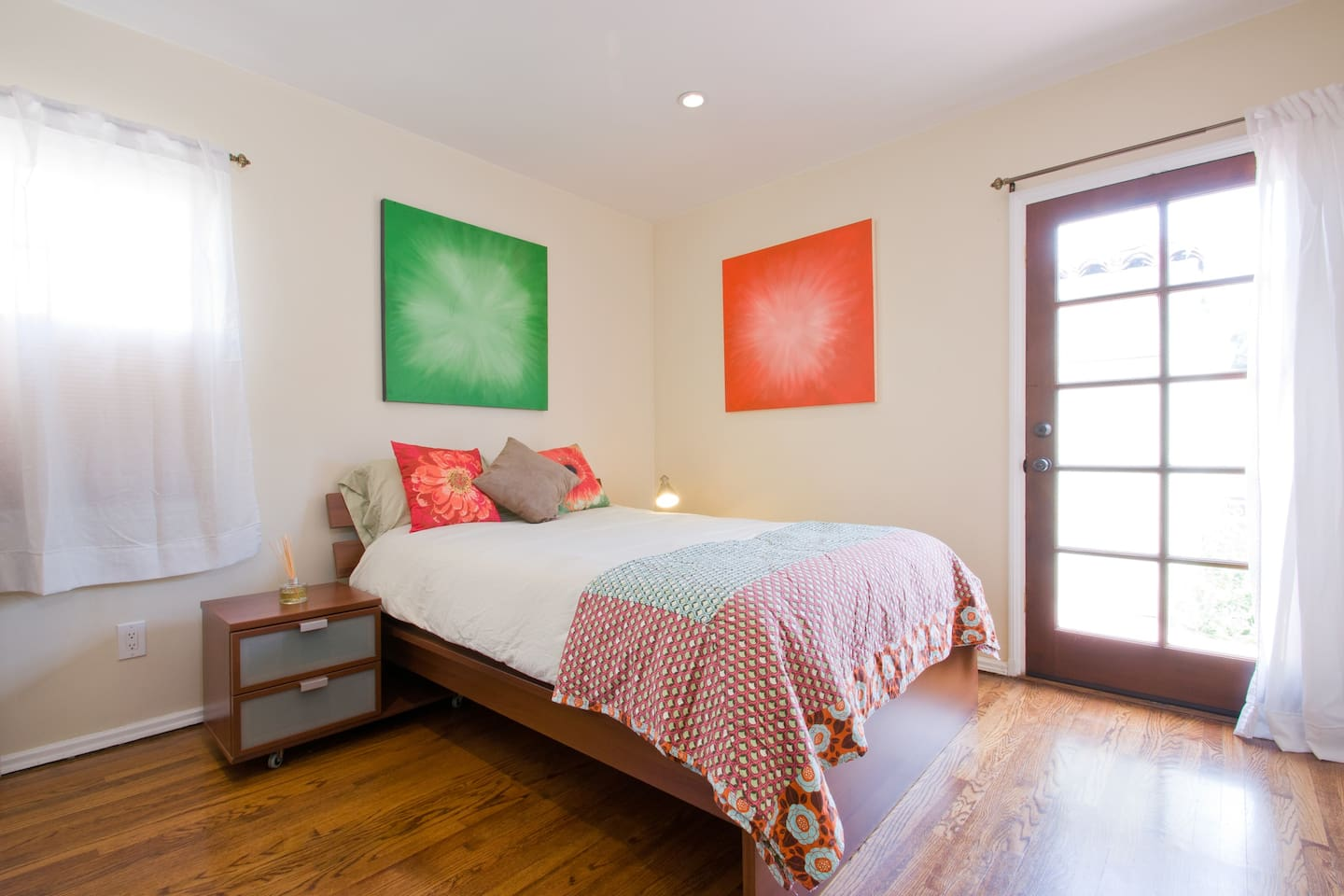 Feel right at home in the warm colors and in-house artistic paintings.