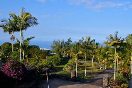In the heart of the coffee district, our 3800 sq ft home rests on 5 acres of avocado orchards with 180 view of the ocean. 5 rooms (2 master suites), private pool, gourmet kitchen, the perfect place to enjoy tropical sun & colorful sunsets!