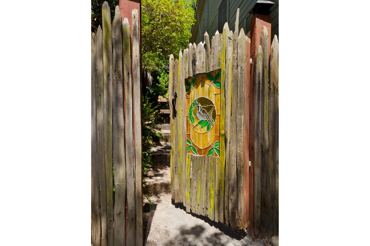 Walk up the stairs and through the gate. Welcome to Quail's Roost.