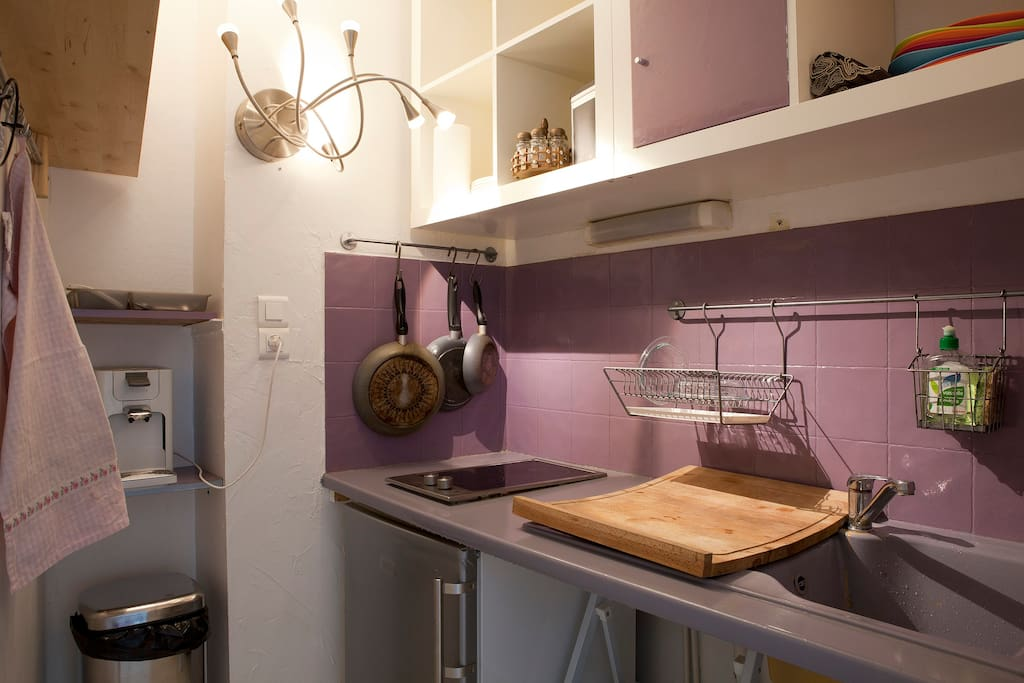 Kitchen ! Cuisine ! Cosina ! Koujîna !   Miam !!! Toute équipé : plaques électriques, micro-onde-grill, frigo, et cafetière Senseo.
