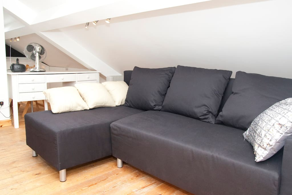 Sofa bed pulls out, back falls forward to create a double bed