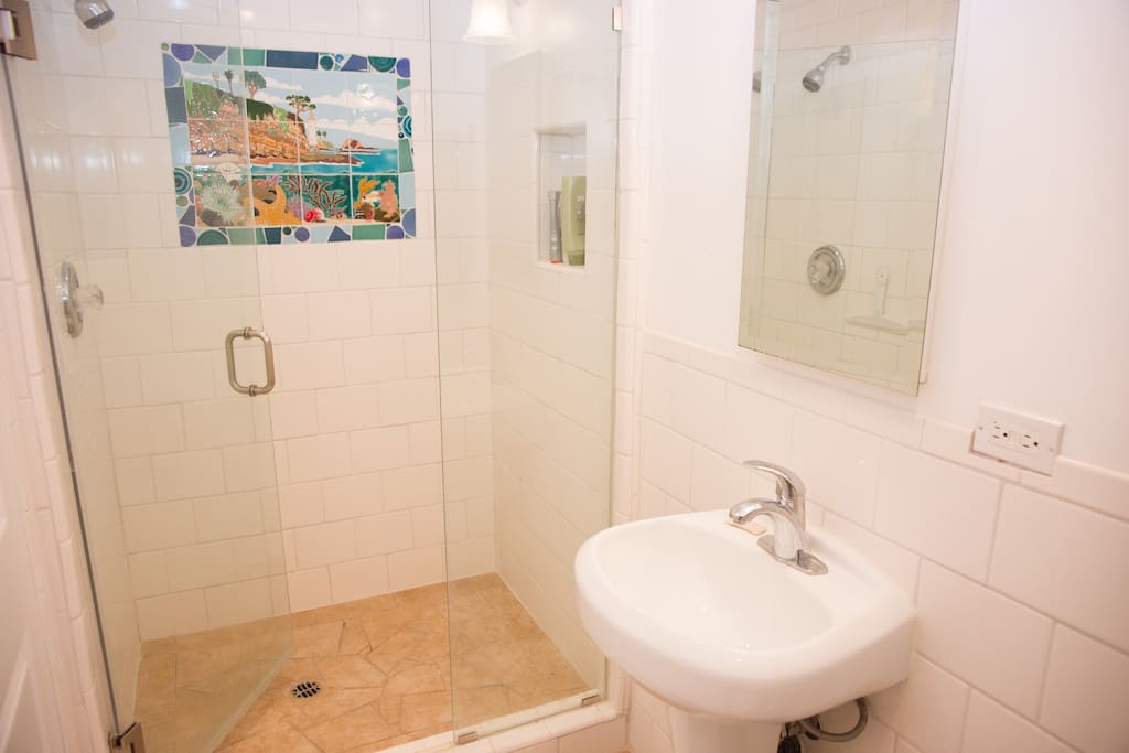 Newly remodeled bathroom with tile by Laguna artist Jessie Bartels.