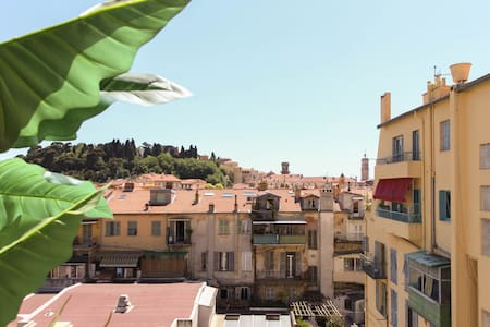 A terrace overlooking Old Nice.