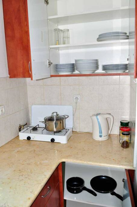 kitchen ware available for guests who would rather cook than go out