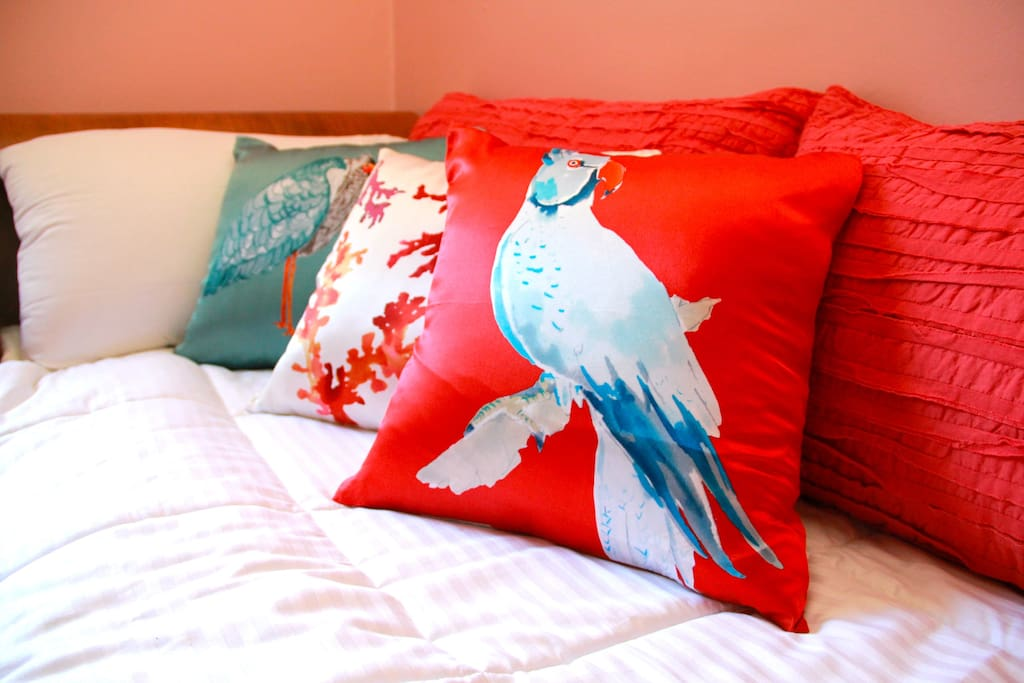 Silk watercolor pillows are also hypo-allergenic and comfy!