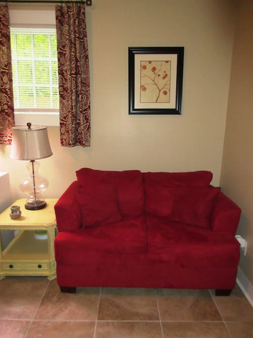 Small sitting room/office off the living room and adjacent to your bedroom that you may lounge in.