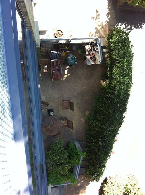 The terrace where there'a room for a barbecue (there's a grill there)