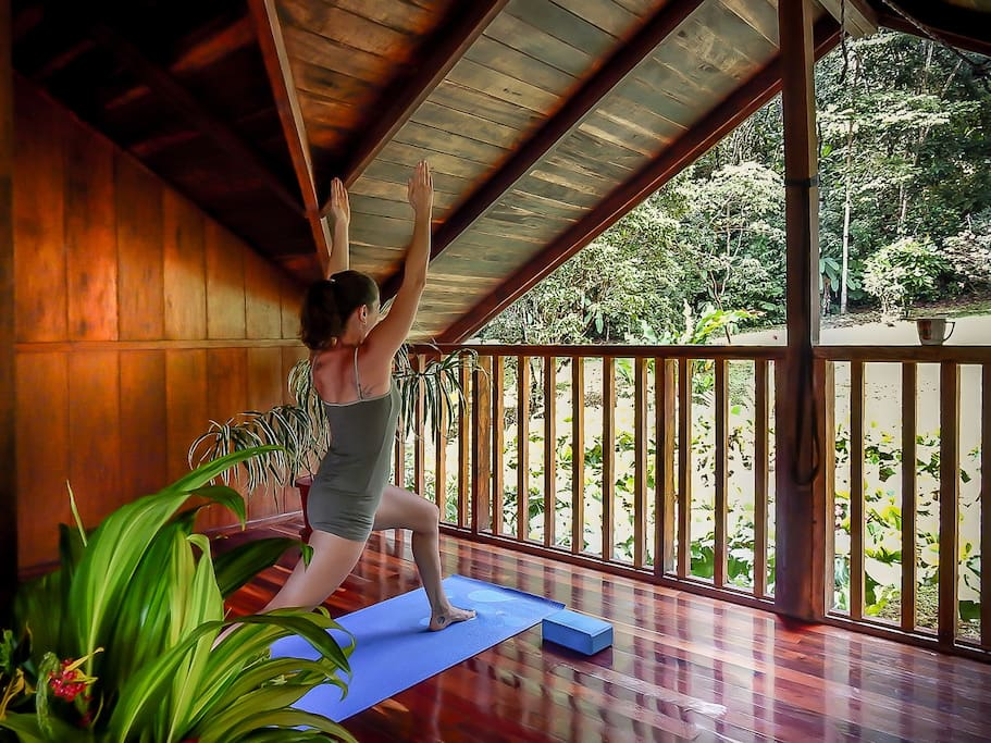 The deck of Casa los Suenos is perfect for your morning yoga workout.