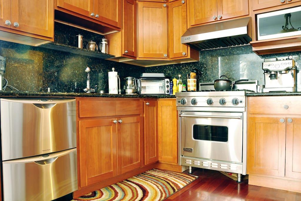 Kitchen with Viking Range Stove