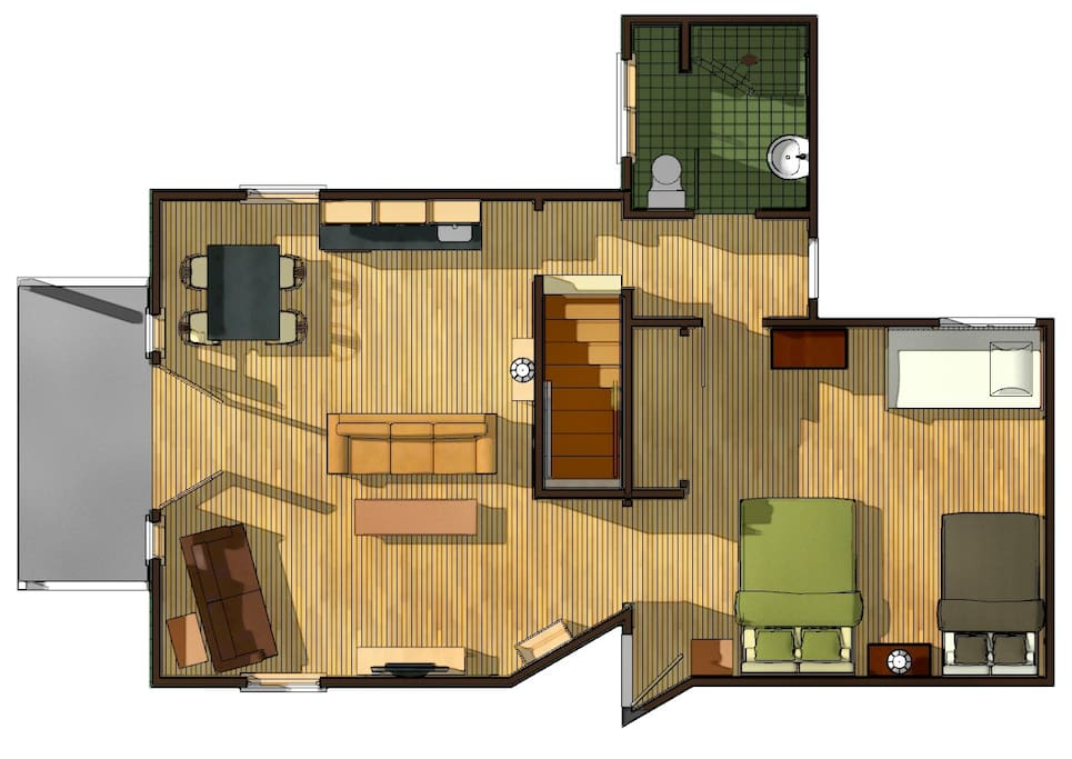 Floor plan...one bedroom, living space, bath.