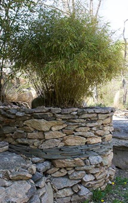 Stone Walls and Bamboo Planter