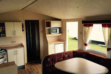 Static caravan at Reighton Sands