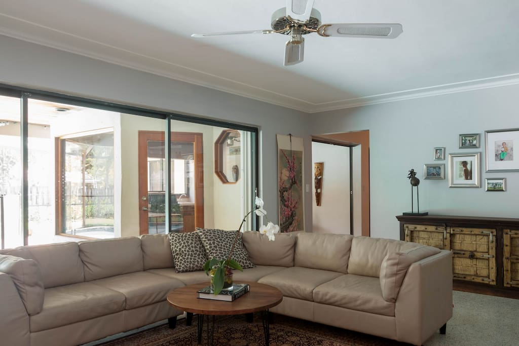 Expansive family room with large screen TV