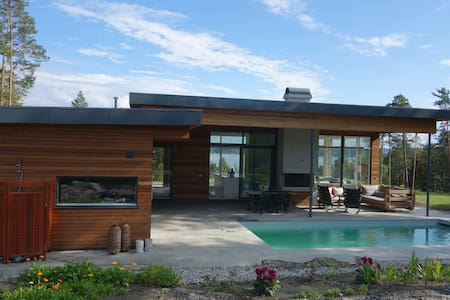 New house heated pool on island