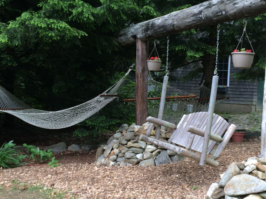 The hammocks and swing await you!