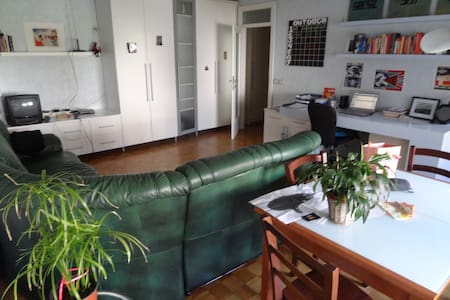 The apartment is 60m2 and very comfortable. There is a large, open living area with a couch and dining table (with four chairs), a full kitchen, a bathroom, and a bedroom with a king-sized bed. It is very bright due to big windows and well decorated.