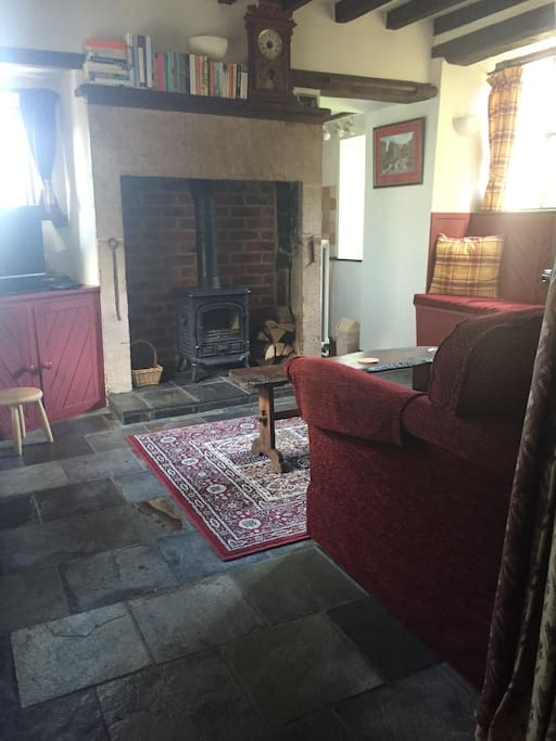 Character lounge with lovely fire place