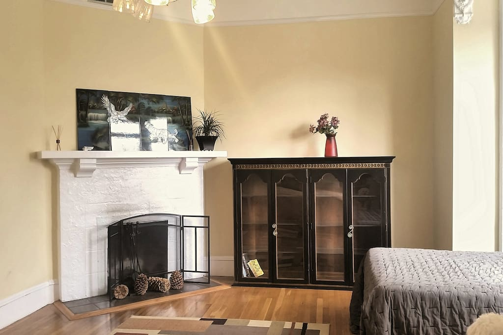 Fireplace in 1st bedroom
