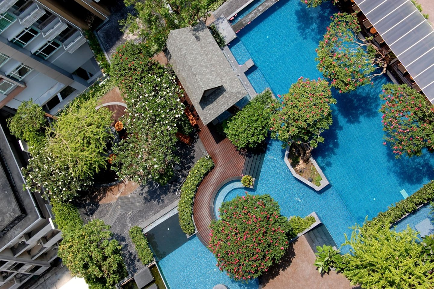 View of your swimming pool from living room balcony.