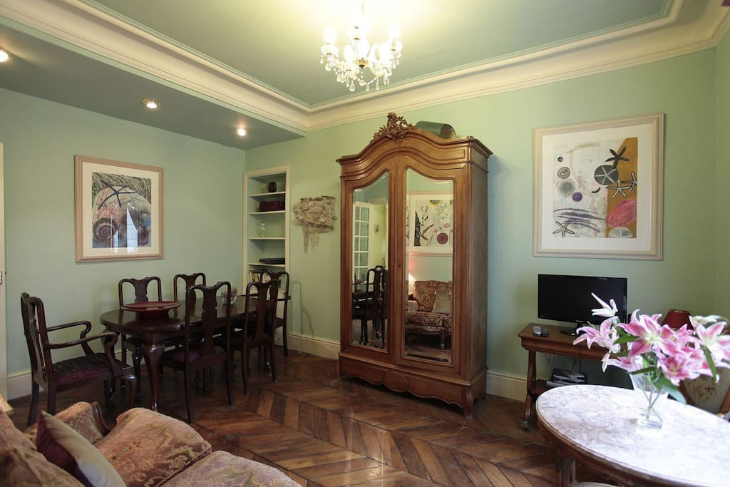 This room also as the dining table and it can comfortably sit six people.