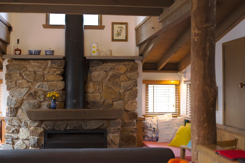 Our main living area is comfortable and beautiful thanks to its wonderful design.  An original chalet designed in 1986 by Professor Peter McIntyre.  We love it and hope you will too.