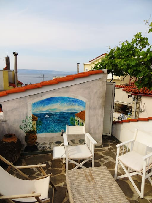 Roof Terrace with Mural