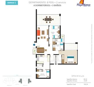 Departamento amoblado y equipado - Playa Blanca - Apartamento