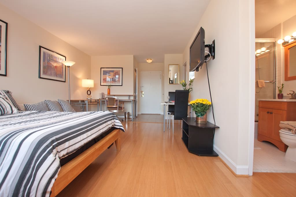 Apartment boasts four closets, separate full kitchen, marble vanity in bath.