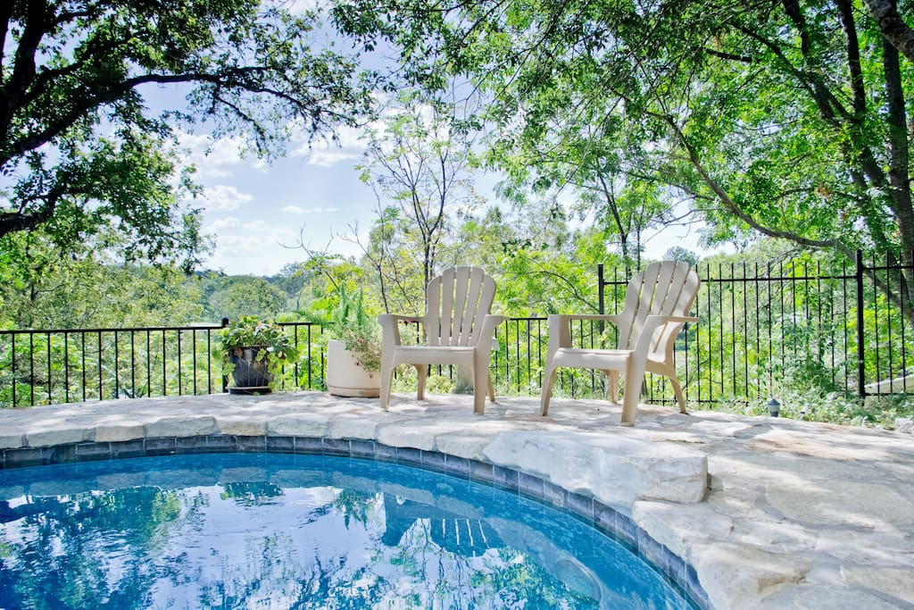 Lovely Pool and Deck Overlook Cypress Creek and Falls