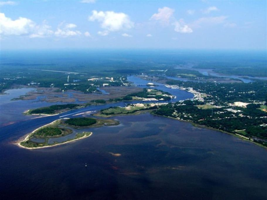 Carrabelle from the air - with the Gulf, harbor and rivers