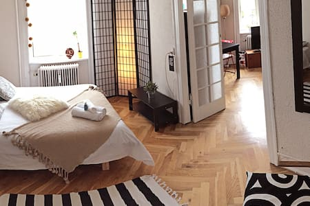 Relaxed and fully furnished double room with a huge private living room full of light in the heart of residential neighbourhood of Frederiksberg. Walking distance to shopping mall, Metro station, restaurants, gourmet coffee shops, bars, etc.