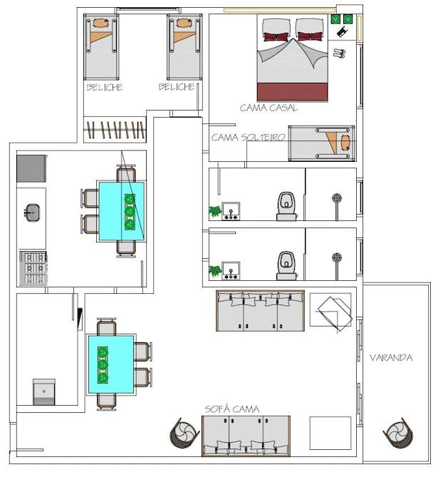 Planta baixa ilustrativa humanizada do apartamento.