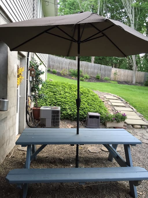 Your private picnic table seats six comfortably looks out over private yard.