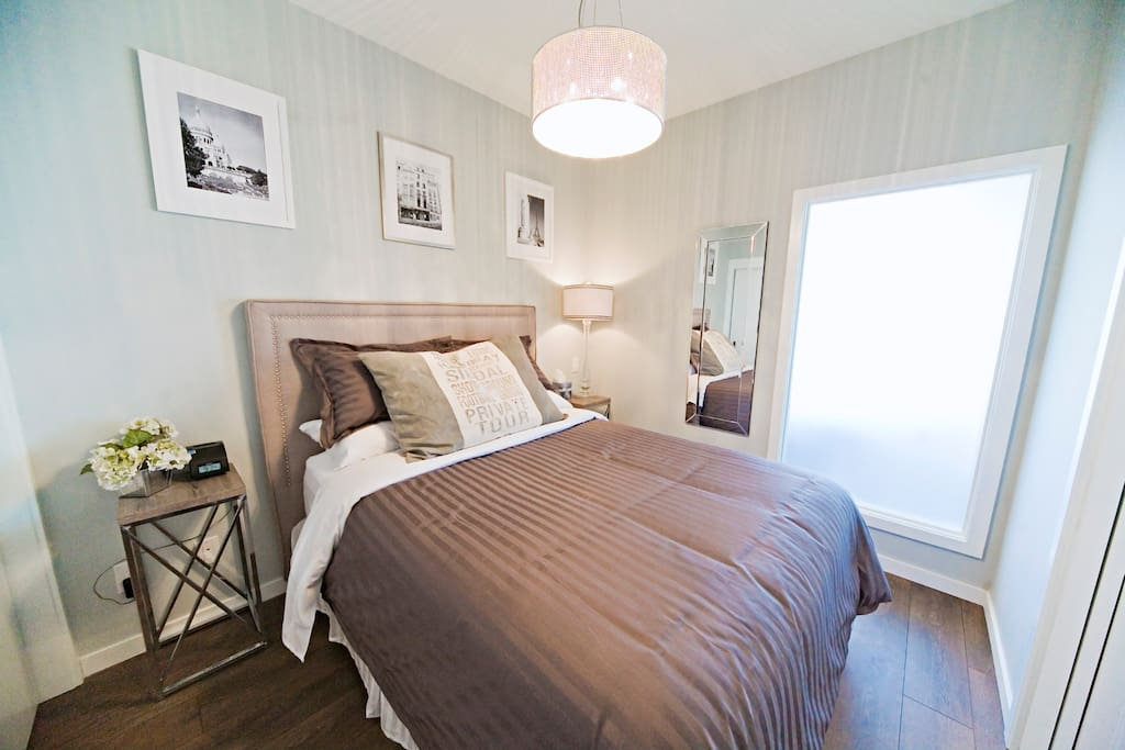 A lovely translucent window brings daylight into the bedroom so you wake up feeling fresh and ready for the day!