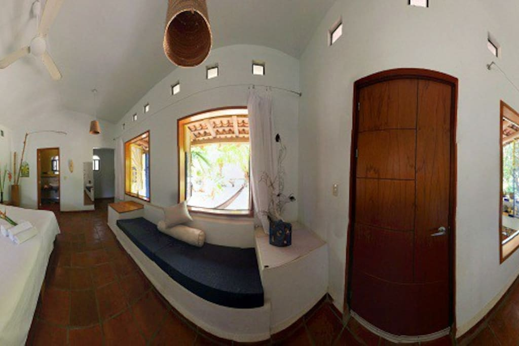 Bungalow, inside view, very clean and comfortable space. Surrounded by the natuers beauty.