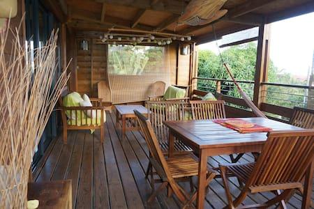 maison bois dans un jardin tropical avec piscine - les avirons - Ház