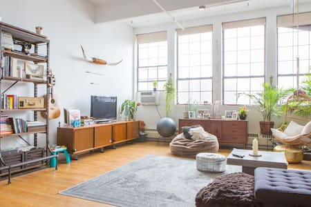 The 1300 SF loft is a huge open space is centered around 10 foot windows that overlook the NYC skyline and Pratt. Lots of light and gorgeous views day and night are what make this loft a true Brooklyn stunner.