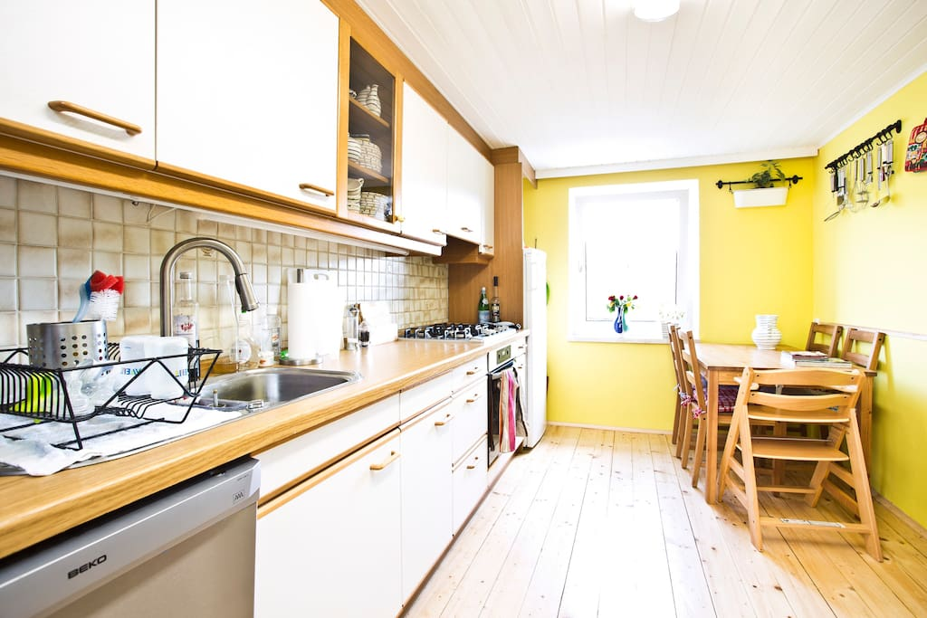 kitchen (upstairs): you are welcome to use it, whenever it is free.