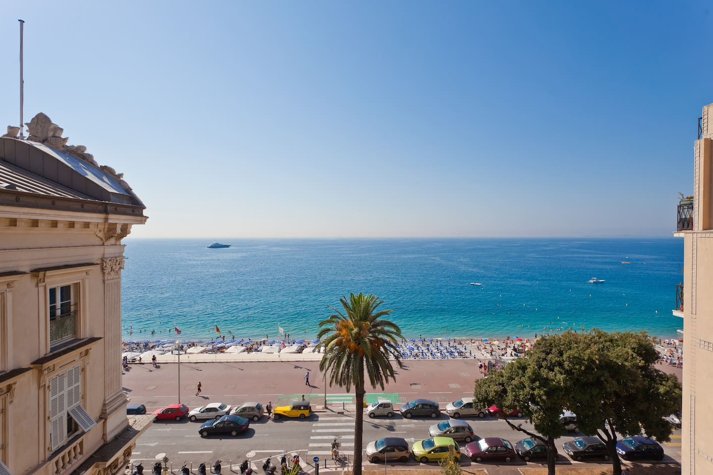 View from the salon. Turn left and you see the Opera House. Turn right and at night you can see the Antibes lighthouse.