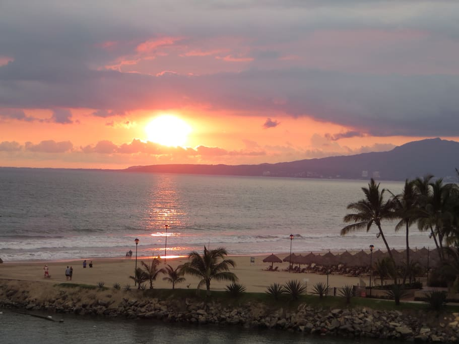 Sunsets and sunrises from our three balconies include sea and mountain views.  Beautiful Bahia de Banderas (nicknamed the Goldfish Bowl) teems with marine life and the Sierre Madre mountains feature spectacular rain forests, an unbeatable combination!