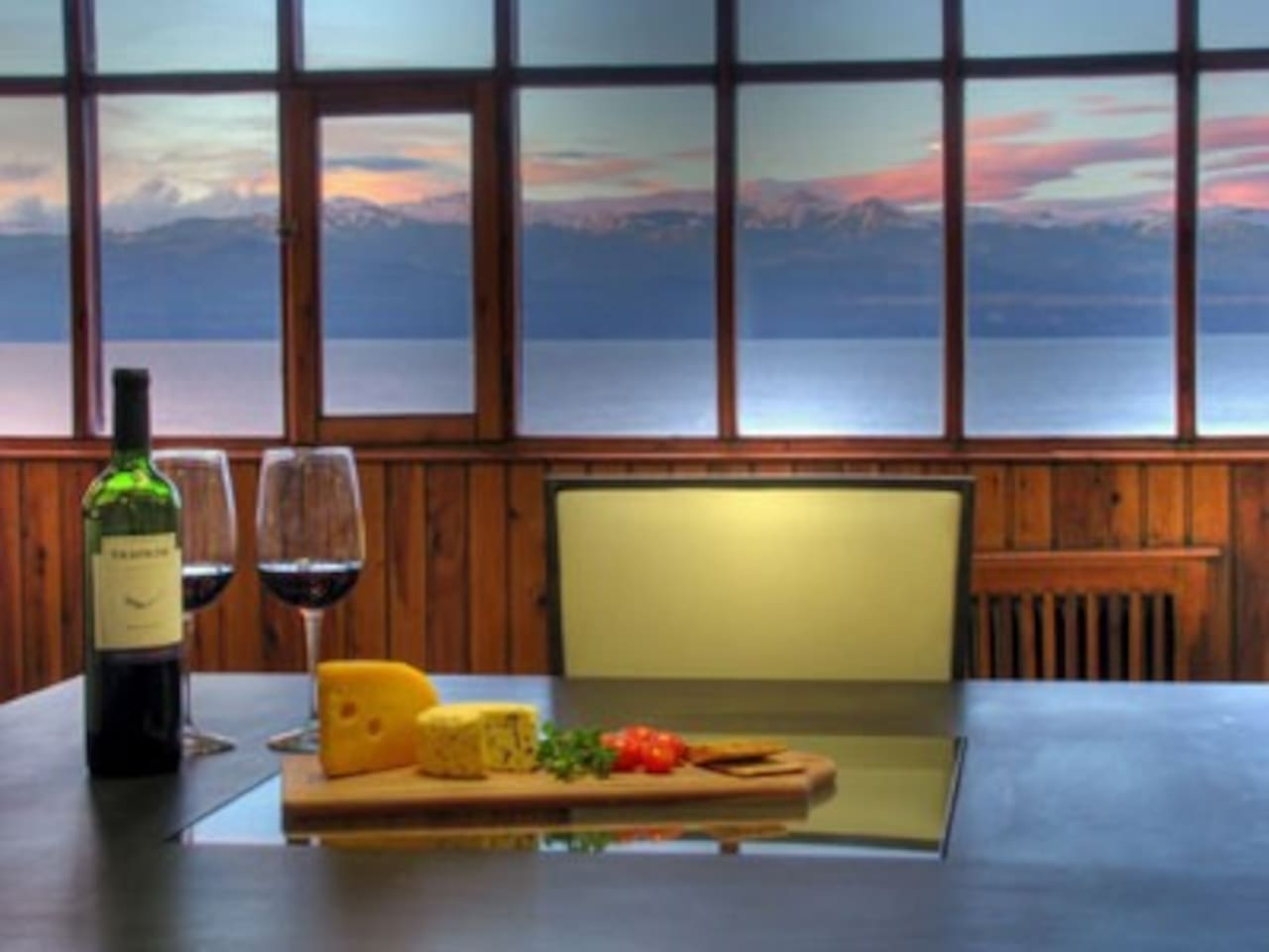 Living lounge and kitchen open plan and all with this view from the 3metre wide window. Breathtaking views all day long.