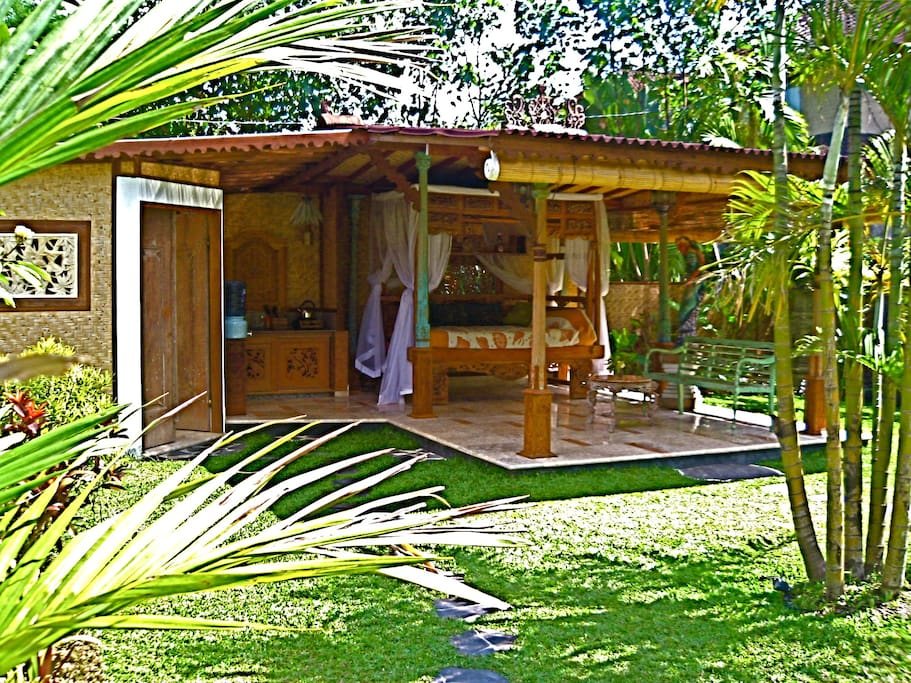 Mermaid Pavilion.  Open pavilion style with bamboo curtains for privacy.